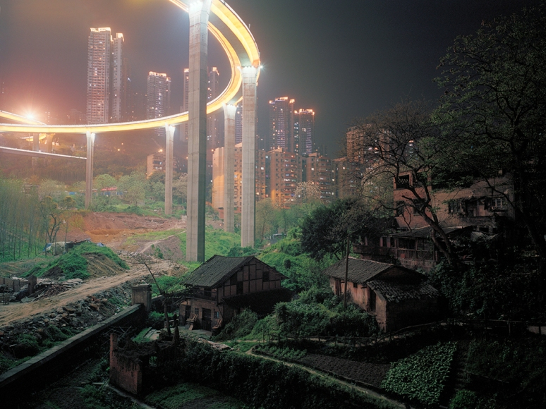 Elevated roads encroaching farmhouses, Chongqing